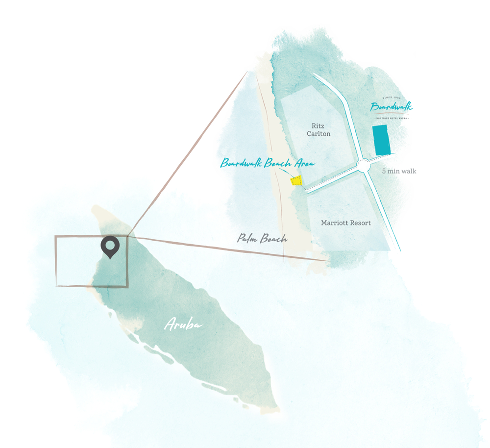 Map of Aruba with location of Boardwalk Boutique Hotel