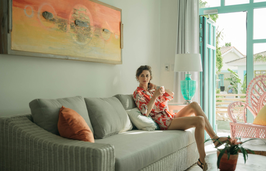 girl sitting in living room of a casita