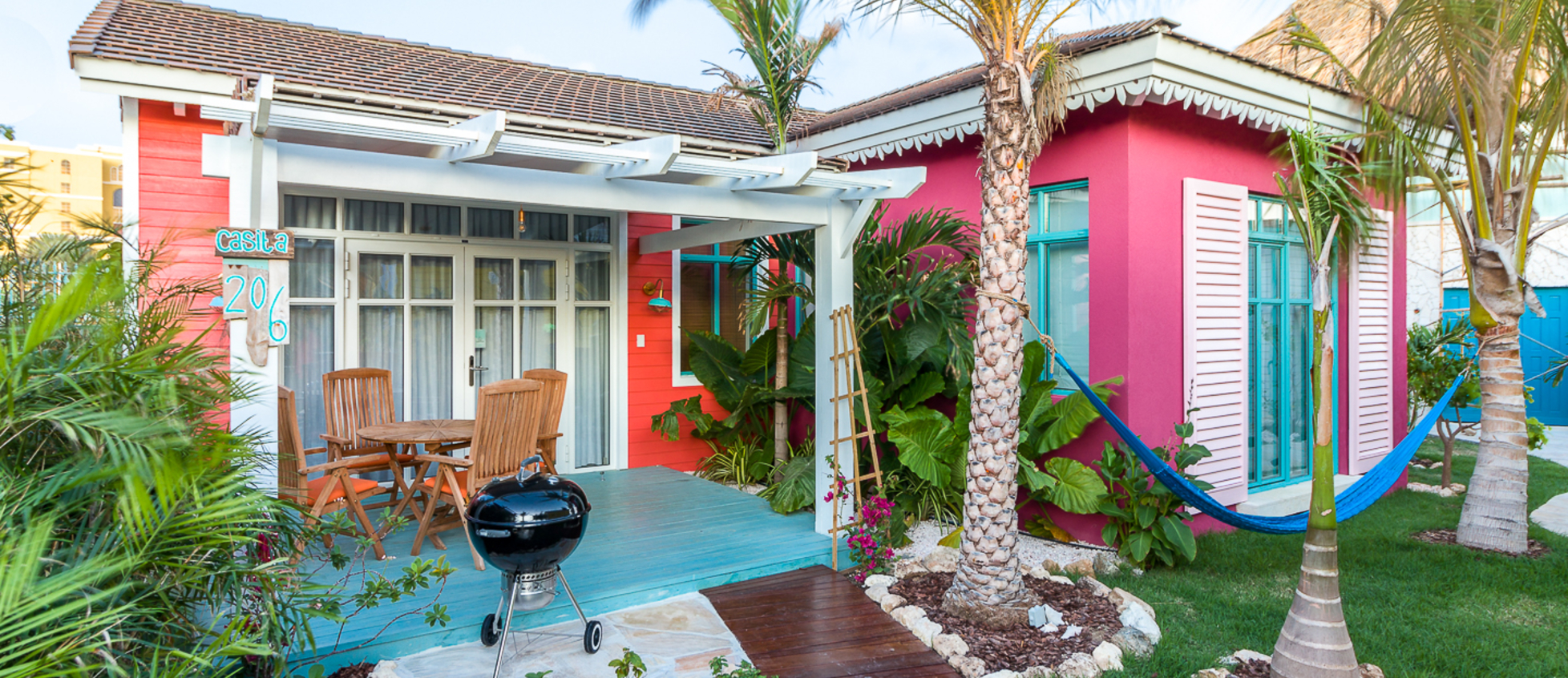pink casita with patio and bbq